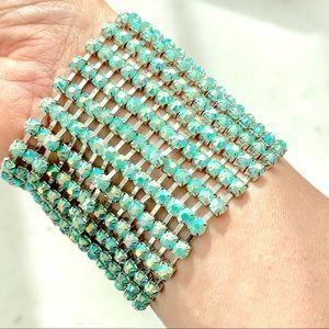Aqua Crystal Rhinestone Cuff Adjustable Bracelet